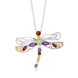"1.19 ct. t.w. Multi-Stone Dragonfly Necklace in Sterling Silver. 18"", , default"