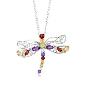 """1.19 ct. t.w. Multi-Stone Dragonfly Necklace in Sterling Silver. 18"""", , default"""