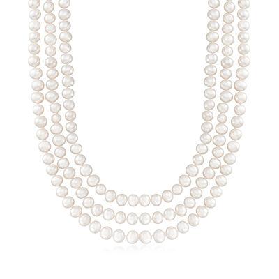 C. 1990 Vintage 7.5x8mm Cultured Pearl Endless Necklace, , default