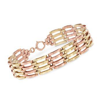"C. 1940 Vintage 14kt Two-Tone Gold Multi-Row Link Bracelet. 7"", , default"