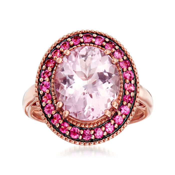 3.80 Carat Morganite and .40 ct. t.w. Pink Sapphire Ring in 18kt Rose Gold. Size 7