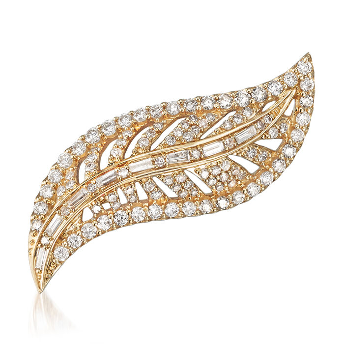 1.00 ct. t.w. Diamond Leaf Pin in 14kt Yellow Gold, , default