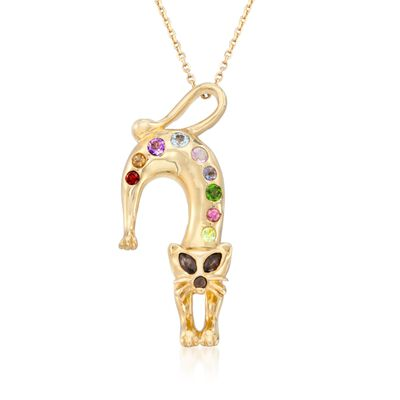 .53 ct. t.w. Multi-Stone Cat Pin Pendant Necklace in 14kt Gold Over Sterling, , default