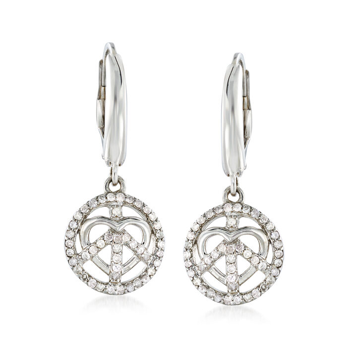 .35 ct. t.w. Diamond Peace and Love Drop Earrings in Sterling Silver, , default