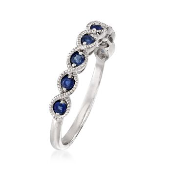 .40 ct. t.w. Sapphire Milgrain Twist Ring in 14kt White Gold, , default