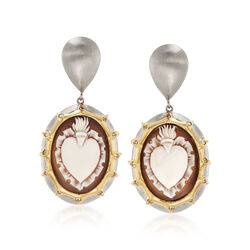 Italian Cameo Shell Heart Earrings in 18kt Gold Over Sterling Silver, , default