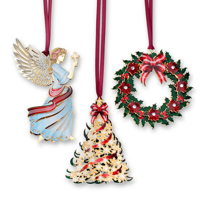 Set of 3 Christmas-Themed Ornaments, , default