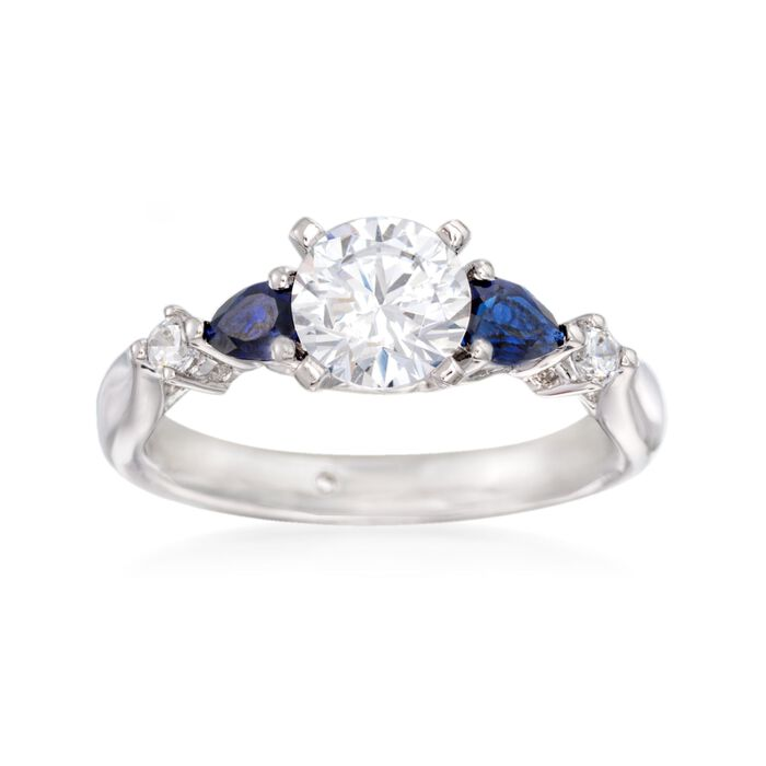 Gabriel Designs .52 ct. t.w. Sapphire and .10 ct. t.w. Diamond Engagement Ring Setting in 14kt White Gold, , default