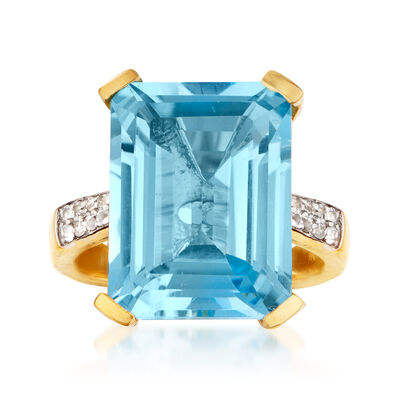 13.60 ct. t.w. Sky Blue and White Topaz Ring in 18kt Gold Over Sterling