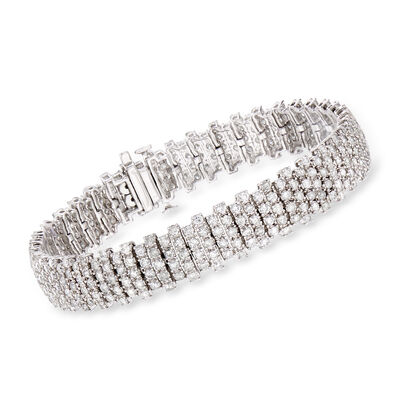 7.00 ct. t.w. Diamond Staggered-Row Bracelet in 14kt White Gold