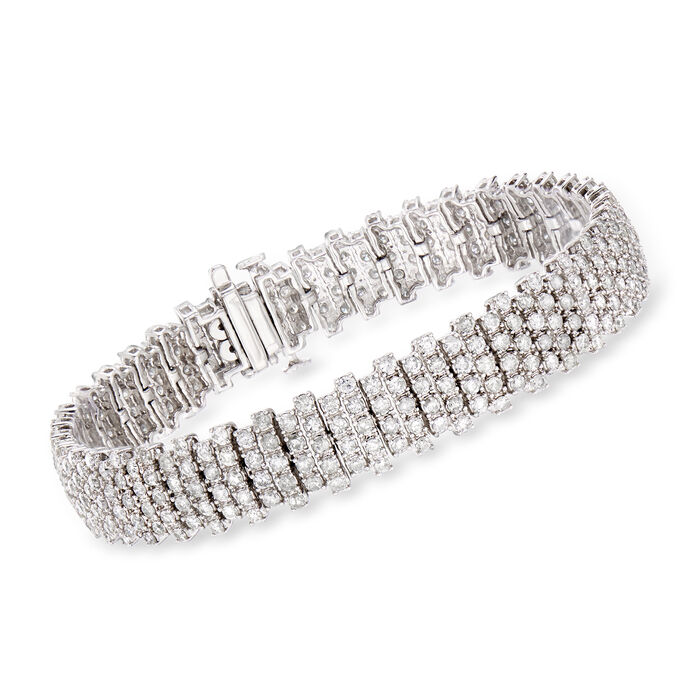 7.00 ct. t.w. Diamond Staggered-Row Bracelet in 14kt White Gold, , default