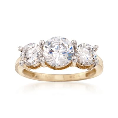 3.00 ct. t.w. CZ Three-Stone Ring in 14kt Yellow Gold, , default