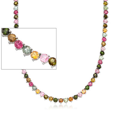 25.00 ct. t.w. Multicolored Tourmaline Tennis Necklace in Sterling Silver, , default