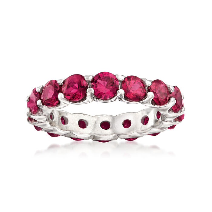 5.25 ct. t.w. Synthetic Ruby Eternity Band in Sterling Silver