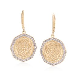 .15 ct. t.w. Diamond Medallion Earrings in 18kt Gold Over Sterling, , default