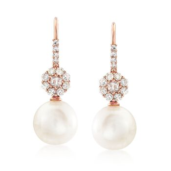 10-10.5mm Cultured Pearl and .56 ct. t.w. Diamond Earrings in 14kt Rose Gold, , default