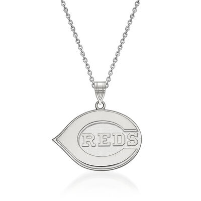 Sterling Silver MLB Cincinnati Reds Pendant Necklace. 18""