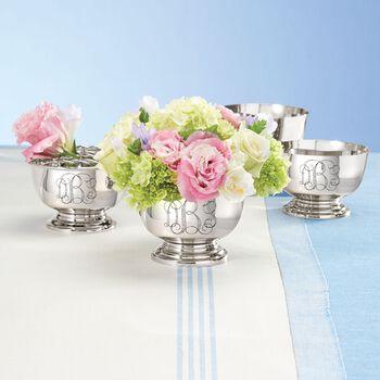 Silvertone Set of Four Personalized Revere Bowls, , default