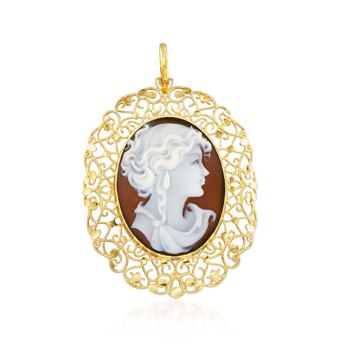 Italian Brown Shell Cameo Pendant in 14kt Yellow Gold, , default