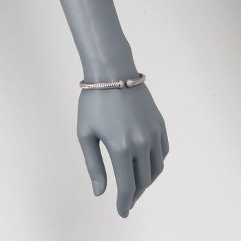 """Charles Garnier """"Mimosa"""" Italian .60 ct. t.w. CZ Cuff Bracelet in Sterling Silver. 7"""", , default"""