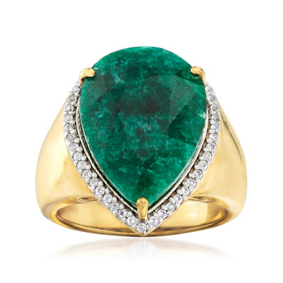9.50 Carat Emerald and .20 ct. t.w. White Topaz Ring in 18kt Gold Over Sterling, , default
