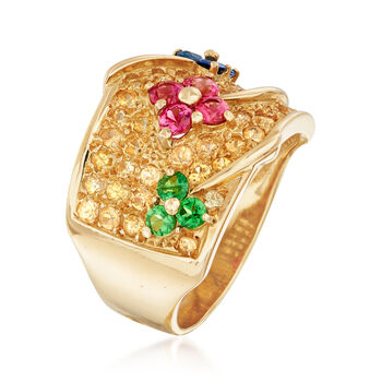 C. 1990 Vintage 2.35 ct. t.w. Multi-Stone Flower Ring in 18kt Yellow Gold. Size 7.5, , default
