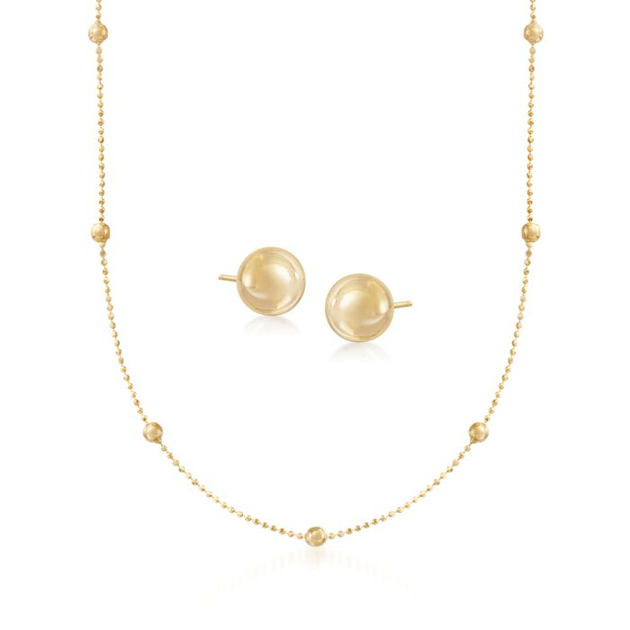 14kt Yellow Gold Bead Station Necklace with Free 4mm Ball Stud Earrings