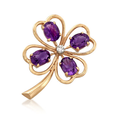 C. 1960 Vintage 4.70 ct. t.w. Amethyst and .12 Carat Diamond Clover Pin in 14kt Yellow Gold, , default
