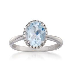 1.45 Carat Aquamarine Ring With Diamonds in 14kt White Gold, , default