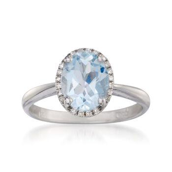 1.45 Carat Aquamarine Ring With Diamonds in 14kt White Gold, , default