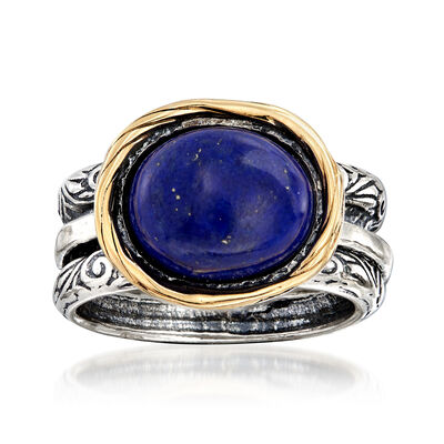 Lapis Ring in Sterling Silver with 14kt Yellow Gold, , default