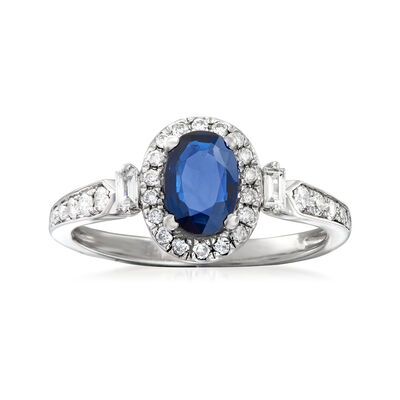 .90 Carat Sapphire and .31 ct. t.w. Diamond Ring in 14kt White Gold