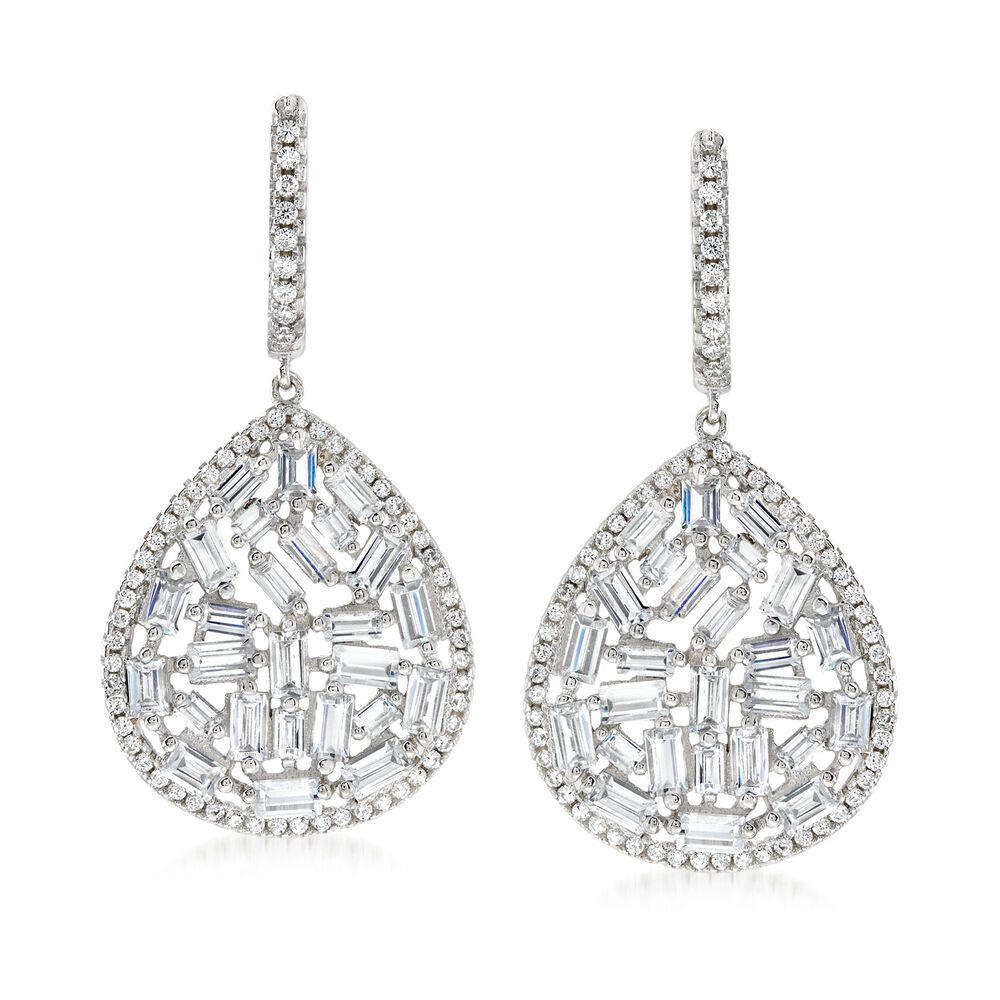 T W Cz Mosaic Teardrop Earrings In Sterling Silver Default