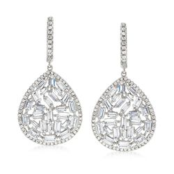 5.45 ct. t.w. CZ Mosaic Teardrop Earrings in Sterling Silver, , default