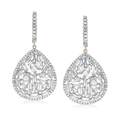 5.45 ct. t.w. CZ Mosaic Teardrop Earrings in Sterling Silver, , default