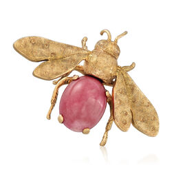 C. 1970 Vintage Pink Coral Bee Pin in 18kt Yellow Gold, , default