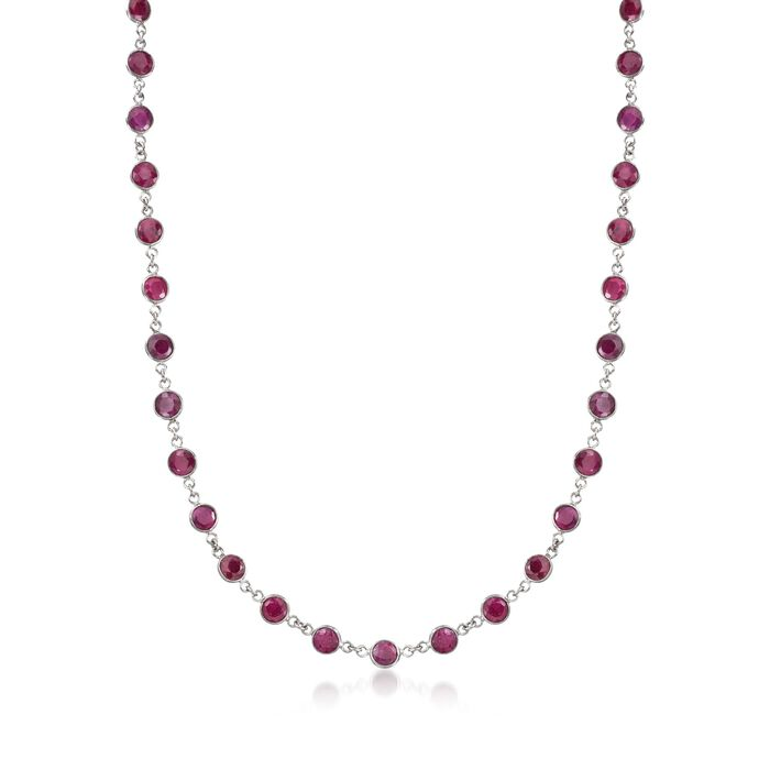 30.00 ct. t.w. Ruby Station Necklace in Sterling Silver