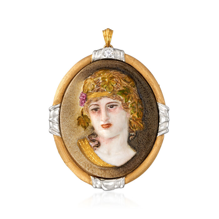 C. 1970 Vintage .15 Carat Diamond Lava Stone Intaglio Pin Pendant in 18kt Two-Tone Gold