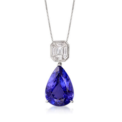 10.00 Carat Tanzanite and .45 ct. t.w. Diamond Pendant Necklace in 18kt White Gold