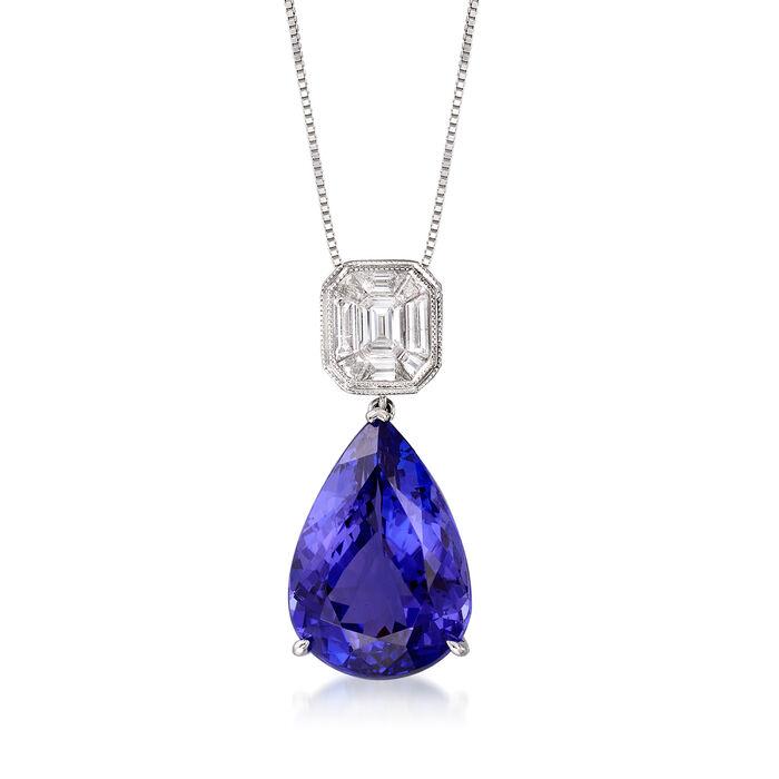 10.00 Carat Tanzanite and .45 ct. t.w. Diamond Pendant Necklace in 18kt White Gold