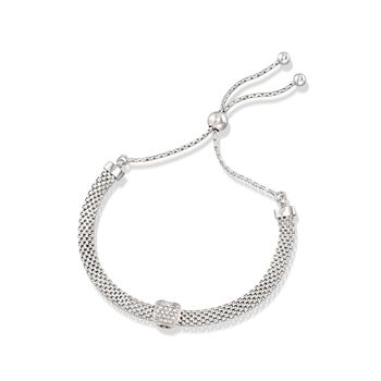 Italian Sterling Silver Mesh Bolo Bracelet With CZ Station , , default