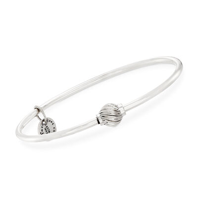 Sterling Silver Cape Cod Single Swirled Bead Bangle Bracelet, , default