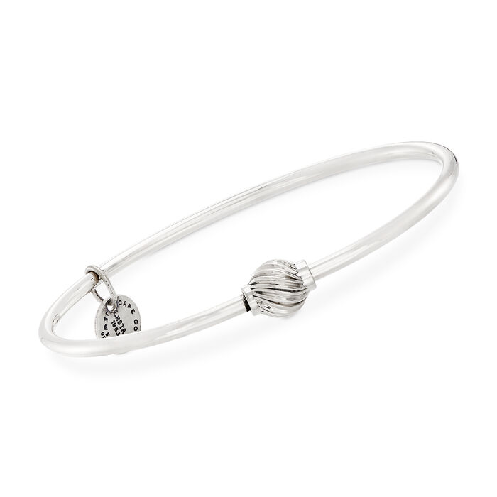 Sterling Silver Cape Cod Single Swirled Bead Bangle Bracelet, , default