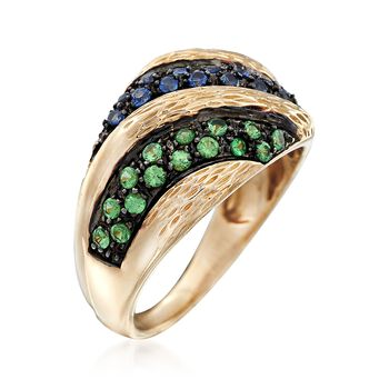 .50 ct. t.w. Multicolored Sapphire and .20 ct. t.w. Tsavorite Ring in 14kt Yellow Gold, , default