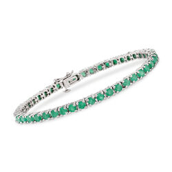 "6.60 ct. t.w. Emerald Tennis Bracelet in Sterling Silver. 7.25"", , default"