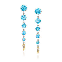 "Andrea Candela ""Fugaz"" 11.00 ct. t.w. Blue Topaz and Diamond Earrings in 18kt Gold and Sterling, , default"