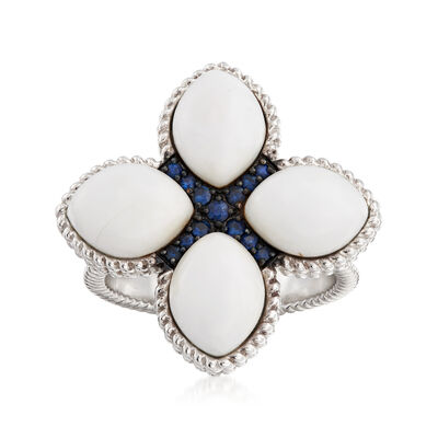 Magnesite and .20 ct. t.w. Sapphire Flower Ring in Sterling Silver, , default