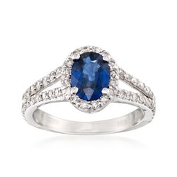 1.25 Carat Sapphire and .80 ct. t.w. Diamond Ring in 14kt White Gold, , default