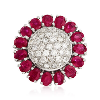 C. 1970 Vintage 3.89 ct. t.w. Ruby and .80 ct. t.w. Diamond Flower Ring in 18kt White Gold, , default