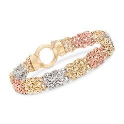 14kt Tri-Colored Gold Byzantine Link Bracelet, , default